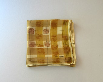 Mid Century Vera Neumann Scarf Sheer Brown Modernist Long