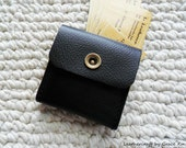 "100% hand stitched super dark brown leather 2.5""x2.5"" business cards, Ipod, ear buds, earphone, coin case / pouch"