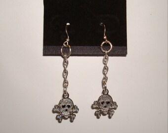 Silvertone  Skull and Cross bones Dangle Earrings with Silver hooks