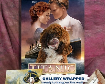 Portuguese Water Dog Art Vintage Poster Movie Style Canvas Print - Titanic NEW COLLECTION by Nobility Dogs