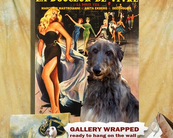 Scottish Deerhound Art Vintage Poster Movie Style Canvas Print - La dolce vita   Perfect DOG LOVER GIFT Gift for Her Gift for Him Home Decor