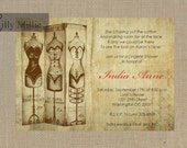 French Vintage Style Lingerie Shower Bachelorette Party Invitation-  DIY Printable or Printed 456