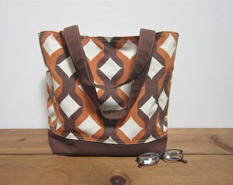 Large Orange brown canvas tote bag/fall fashion/accessories
