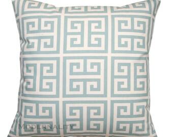 Greek Key Pillows, Towers Village Blue Pillow Cover, Zippered Pillow, Decorative Cushion, Spa Blue Pillow, Throw Pillow, Geometric Decor