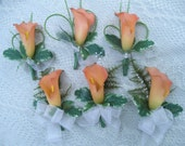 Set of 3 Wedding Corsages. Set has (3) Real Touch CALLA LILY Bridal Bride Silk Flower Orange Coral White Hot pink Purple Destination Wedding