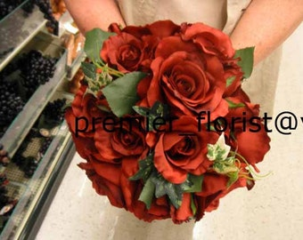 6 pc.Set. READY TO SHIP Destination Wedding Bridal Bouquet Bride maid Groom Best Man Corsage Boutonniere  Holiday / Apple Red Rose Rose Bud
