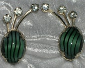 Vintage Art Glass & Rhinestone Climber Screw Back Earrings - FREE SHIPPING