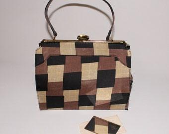 lennox bags vintage. 50s 60s vtg geometric mad men purse handbag black brown neutral nude checkered secretary dolly retro lennox bags vintage