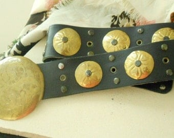 Black Leather and Brass Spanish Style Belt
