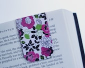 Magnetic Bookmark, Page Marker, Pink Green Flowers, White, Ready to Ship