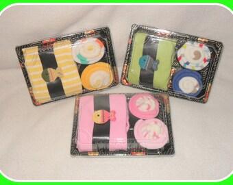 Baby BOY, Neutral or GIRL Onesie, Washcloth, & Sock SUSHI-Fun Baby Gift Idea