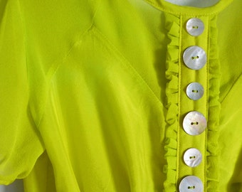 CLEARANCE. S. Size small women's 2-4 Chartreuse and Fuchsia Silk Blouse with Peplum