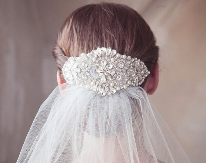 Pearl and Crystal Bridal Headpiece, Rhinestone Hair Comb, Pearl, Crystal Bridal Hair Accesories, Silver Wedding Hair Piece - Style 309