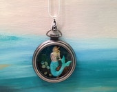 Mermaid Necklace  Sea Glass and Starfish Pocket Watch Locket Necklace