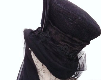 Gothic Victorian black mourning hat mad hatter