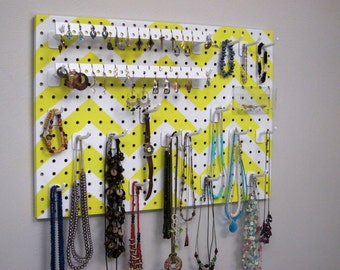Jewelry Organizer - Necklace Hanger  - Earring Display -- White and Yellow Chevron
