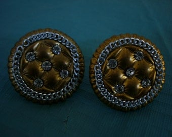 EARCLIPS about 1950, 1 1/2 inch dia. , stones are rhinestones, please see description
