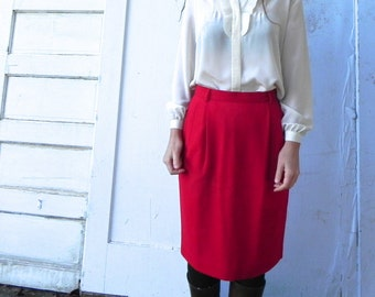 vintage 80s red wool suit skirt.