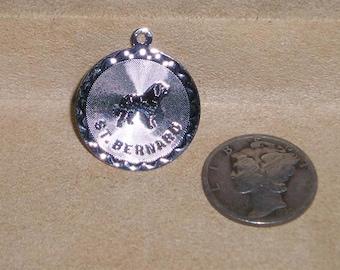 Vintage Sterling Silver St Bernard Charm Or Pendant Dog 1980's Signed Spencer Jewelry 7059
