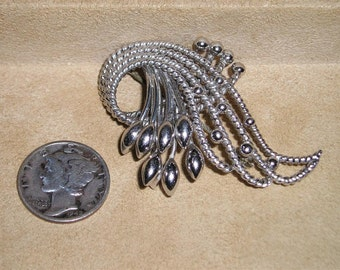Vintage Sterling Silver Pin Budding Berries 1940's Brooch Signed Carl-Art Jewelry H7