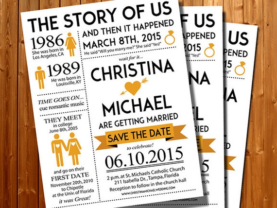 Save The Date The Story Of Us Wedding Invitation-Couples