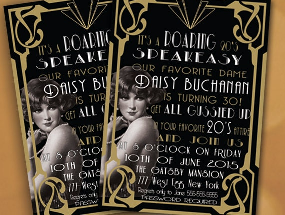 Roaring 20's Invitation Birthday Party Invitation
