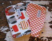 Baby Burp Cloths - Woodwinked Owl and Cherry Moon - Set of 2 - Red, Yellow and Grey - Gender Neutral Boy or Girl