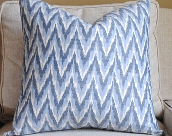 Ready to ship-Decorative Pillow Cover-20x20-Adari Ikat-Accent Pillow-BOTH SIDES-Blue-White