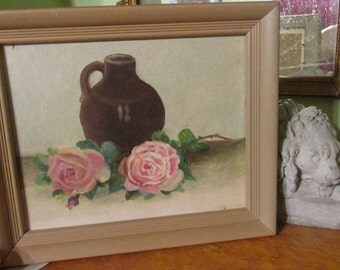 Brown Jug with Cabbage Roses Vintage painting