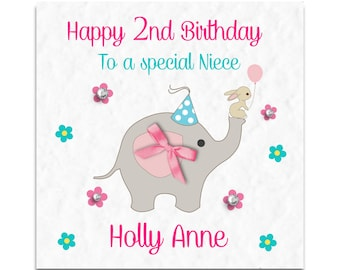 Personalised Girls Elephant Birthday Card - Daughter, Granddaughter, Niece, Sister!
