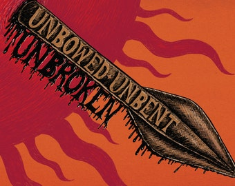 Unbowed, Unbent, Unbroken- Game of Thrones-inspired House Martell A3 art print- Sun and spear