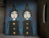 Primitive Witch Sisters Art 8 x 10