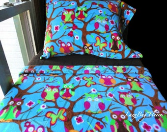Toddler Girls Bedding Set 'Blue Owls' Handmade Fleece Bed Set Fits Crib and Toddler Beds