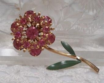 """2 1/2"""" Pink Rhinestone Flower Brooch Enamel Leaves"""