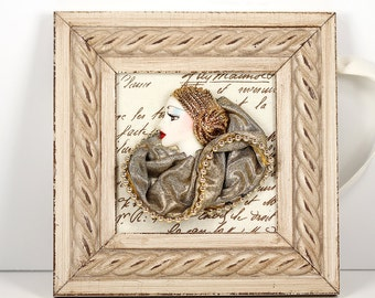 Framed Vintage Cameo in Modern Wood Frame