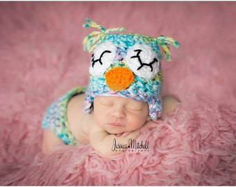 Baby Crochet Colorful Sleepy Owl Hat and Diaper Cover Set Photography Prop Halloween Costume - Treasured Little Creations
