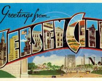 Greetings from Jersey City - 10x16 Giclée Canvas Print of Vintage Postcard