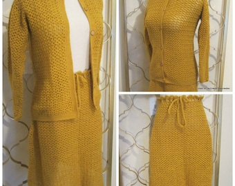 Vintage 1960s Crocheted Suit Skirt & Cardigan Sweater Set Gold Mod Hippie Boho