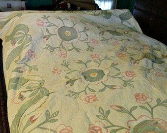 Vintage Decorative Quilt, Pink Flowers and Green leaves, White Background, Vintage Bedding, Collectible Quilt