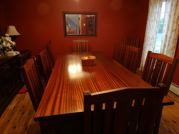 Custom mahogany dining table and chair set
