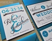 Ampersand & Typography Wedding Invitation Sample   Flat or Pocket Fold Style