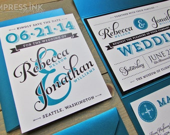 Ampersand & Typography Wedding Invitation Sample | Flat or Pocket Fold Style