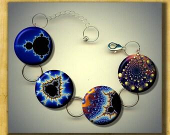 MANDELBROT Set Sacred Fractal Geometry Altered Art Charm Bracelet with Rhinestone