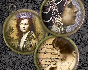 G-Rated Victorian Burlesque - Printables - Femme Fatales, Caberet, Parisian Dancers - 1.5 Inch Circles - Digital Collage Sheet - Downloads