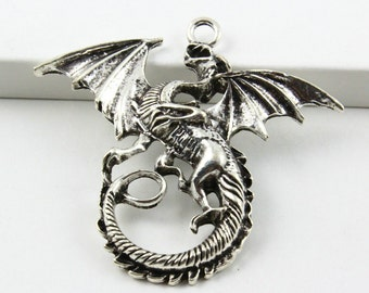 10Pcs Antique Silver Dragon Charm Dragon Pendant 47x43mm (PND478)