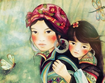 Mother and daughter hmong people art print