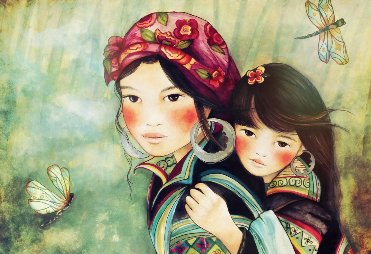 Mother and daughter hmong people art print Miao People Art