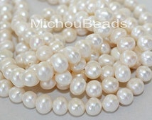 10 Round Genuine PEARLS - 7mm 8mm Creamy Ivory WHITE Freshwater Pearls - Instant Ship - Wholesale Bridal Wedding Pearls - 5692
