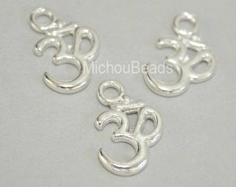 5 Bright SILVER OM Symbol Yoga Charms - 15x10mm Ohm Meditation Buddhist Symbol Nickel Free Charm Pendant - Instant Ship from USA - 5589