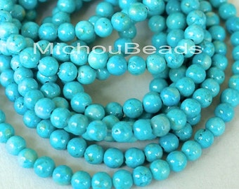"8"" Strand 4mm AQUA Turquoise Natural RIVERSTONE - Round Opaque Natural River Stone Gemstone Bead - Instant Ship - USA Discount Beads - 4457"